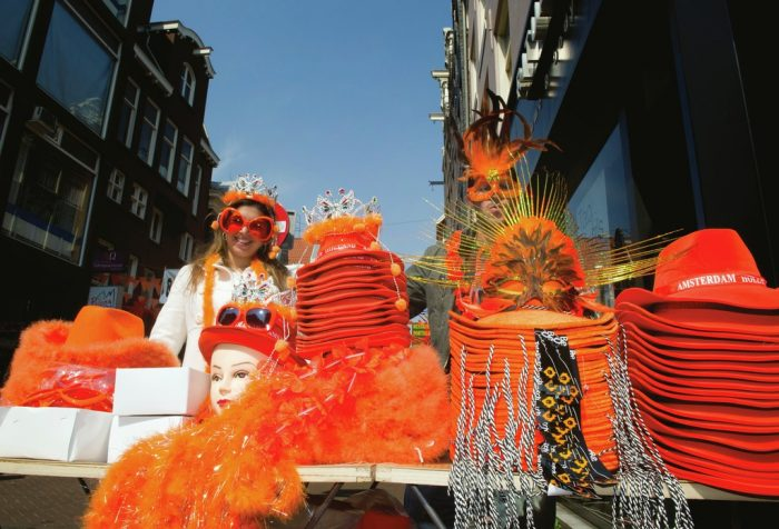On Koningsdag, the national public holiday for the King's birthday, virtually the entire population dresses in orange and some canals and fountains are even dyed orange for the day.