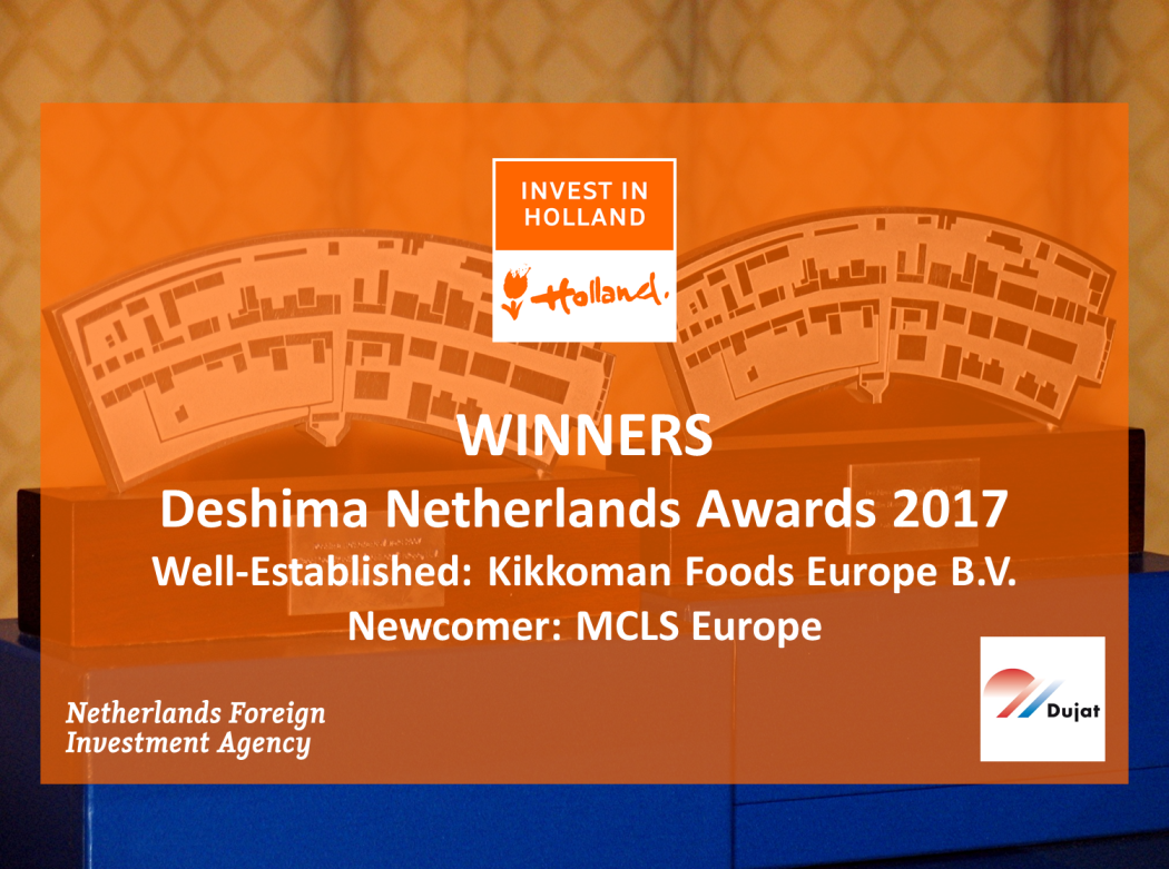 During the DUJAT December Dinner, Deshima Netherlands Awards 2017 were presented to Kikkoman Foods Europe (well-established) and MCLS Europe (newcomer).