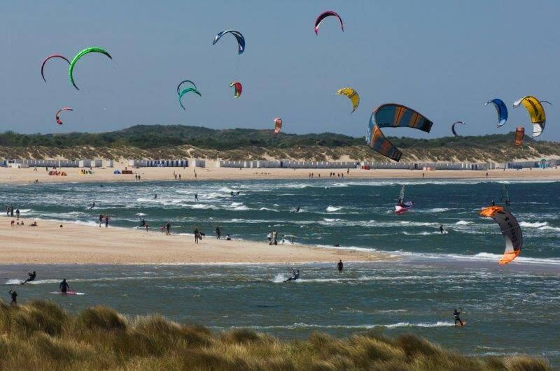 Kite and wind surfers on one of Zeeland's beaches